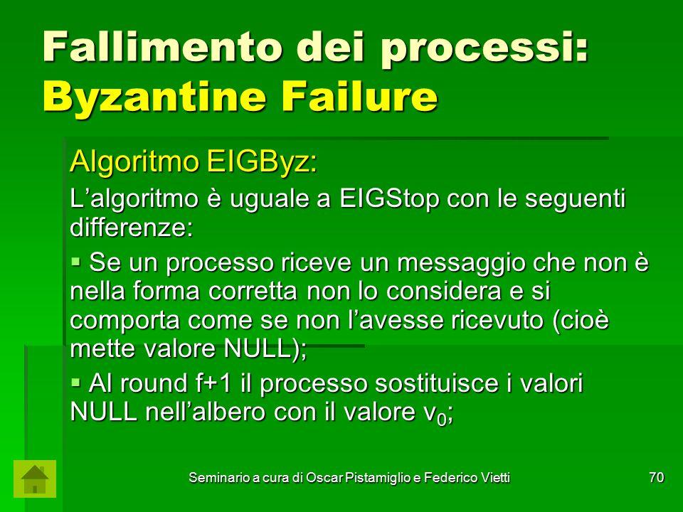 Seminario a cura di Oscar Pistamiglio e Federico Vietti 70 Fallimento dei processi: Byzantine Failure Algoritmo EIGByz: L'algoritmo è uguale a EIGStop