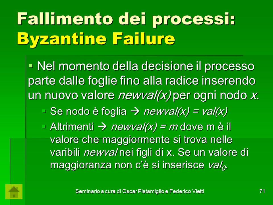 Seminario a cura di Oscar Pistamiglio e Federico Vietti 71 Fallimento dei processi: Byzantine Failure  Nel momento della decisione il processo parte