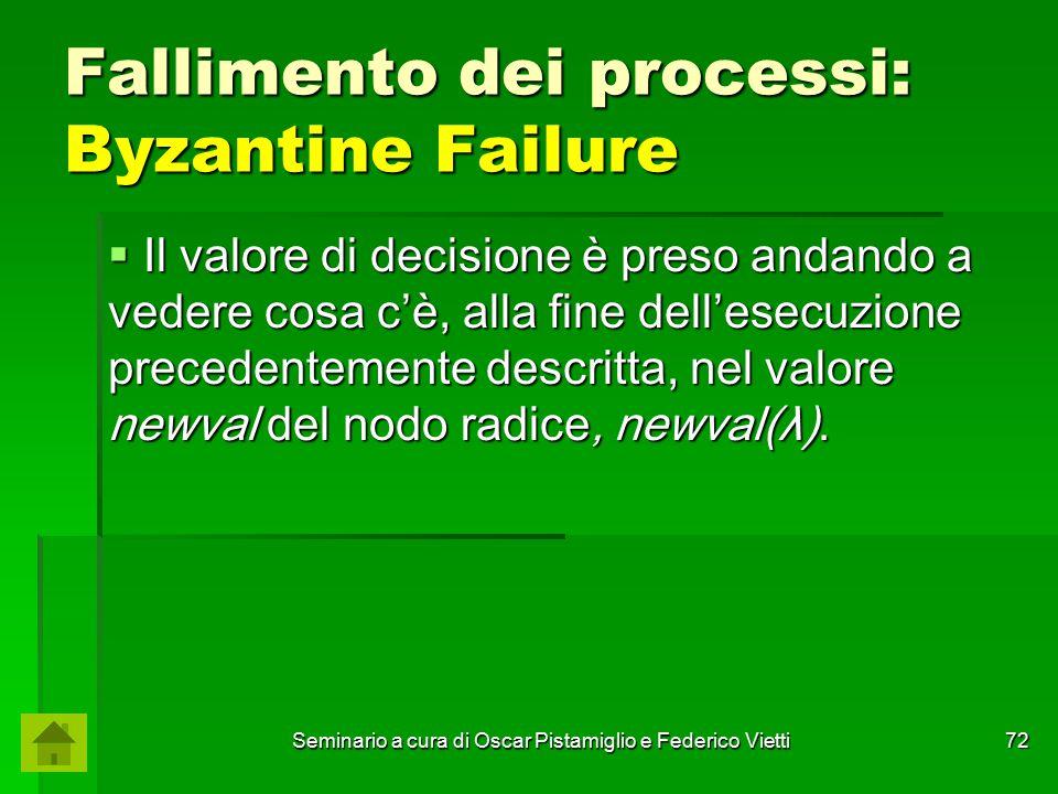 Seminario a cura di Oscar Pistamiglio e Federico Vietti 72 Fallimento dei processi: Byzantine Failure  Il valore di decisione è preso andando a veder