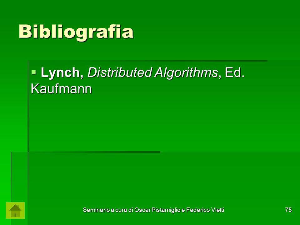 Seminario a cura di Oscar Pistamiglio e Federico Vietti 75 Bibliografia  Lynch, Distributed Algorithms, Ed. Kaufmann