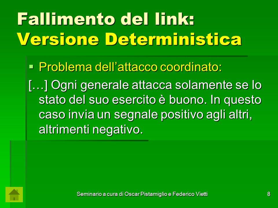 Seminario a cura di Oscar Pistamiglio e Federico Vietti 19 Fallimento del link: Versione Deterministica  Dimostrazione per assurdo: P1P1 P2P2 Se creiamo un'altra sequenza ⍺ 2 che differisce dalla precedente per l'assenza di un arco che va da P 2 a P 1, avremo che per P 2 questa sequenza sarà indistinguibile dalla precedente, ossia: 1 1 ⍺ 1 ~ ⍺ 2 2 Decisione per entrambi uguale a 1.