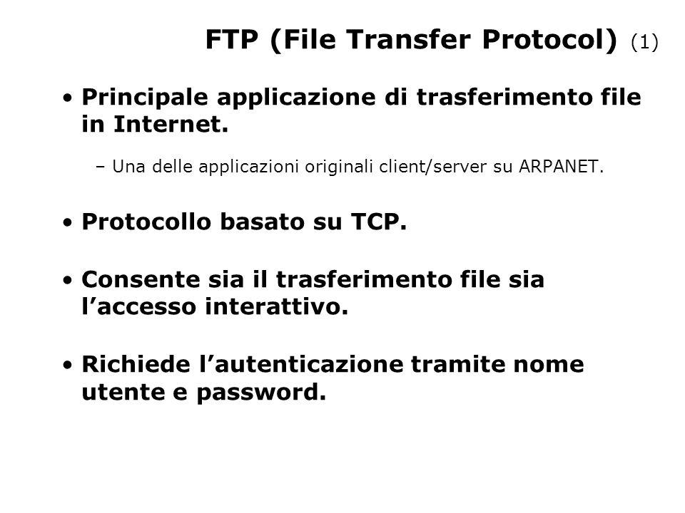 FTP (File Transfer Protocol) (1) Principale applicazione di trasferimento file in Internet.