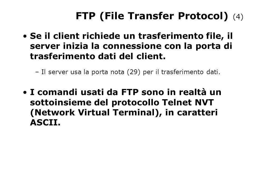 FTP (File Transfer Protocol) (4) Se il client richiede un trasferimento file, il server inizia la connessione con la porta di trasferimento dati del client.