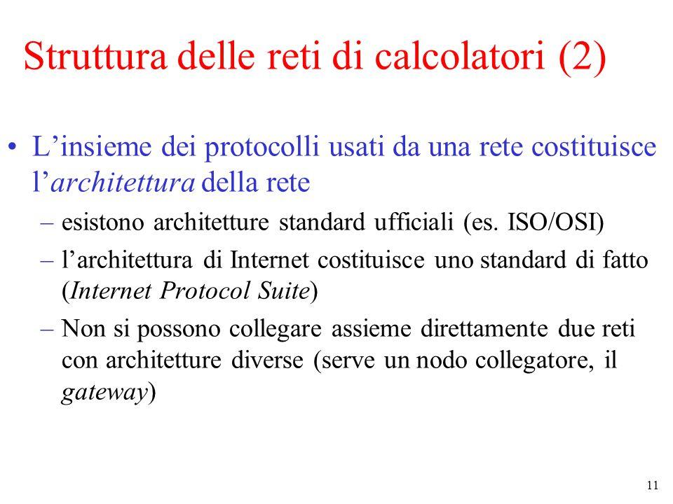 11 Struttura delle reti di calcolatori (2) L'insieme dei protocolli usati da una rete costituisce l'architettura della rete –esistono architetture sta