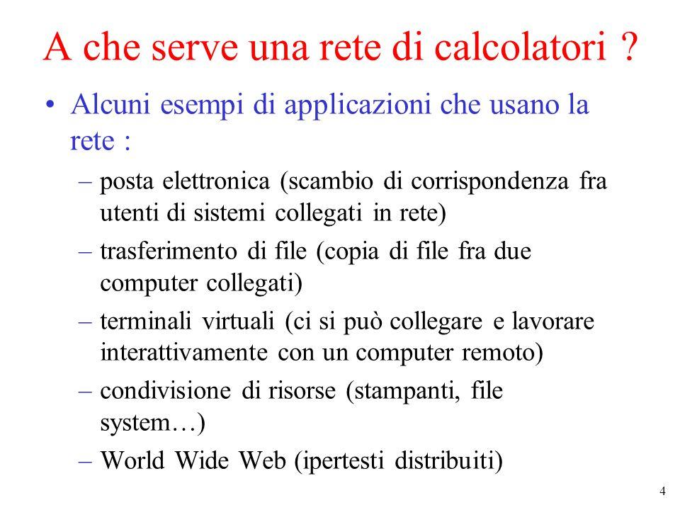 4 A che serve una rete di calcolatori ? Alcuni esempi di applicazioni che usano la rete : –posta elettronica (scambio di corrispondenza fra utenti di