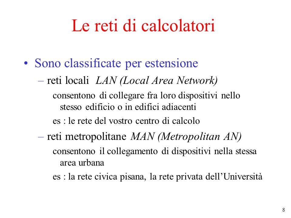 8 Le reti di calcolatori Sono classificate per estensione –reti locali LAN (Local Area Network) consentono di collegare fra loro dispositivi nello ste