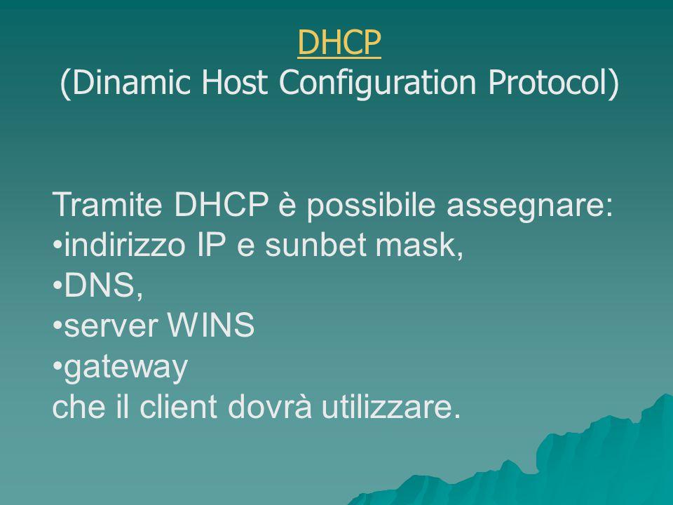 Tramite DHCP è possibile assegnare: indirizzo IP e sunbet mask, DNS, server WINS gateway che il client dovrà utilizzare.