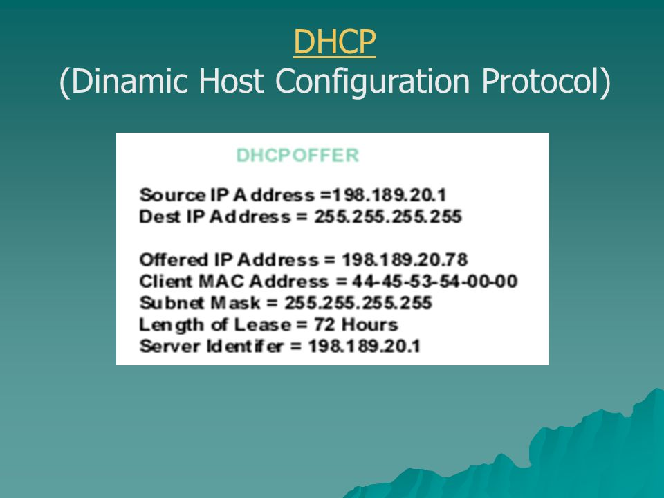 DHCP (Dinamic Host Configuration Protocol)