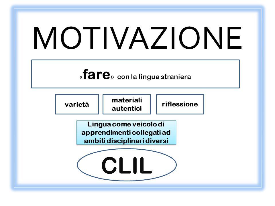 MOTIVAZIONE « fare » con la lingua straniera varietà materiali autentici Lingua come veicolo di apprendimenti collegati ad ambiti disciplinari diversi