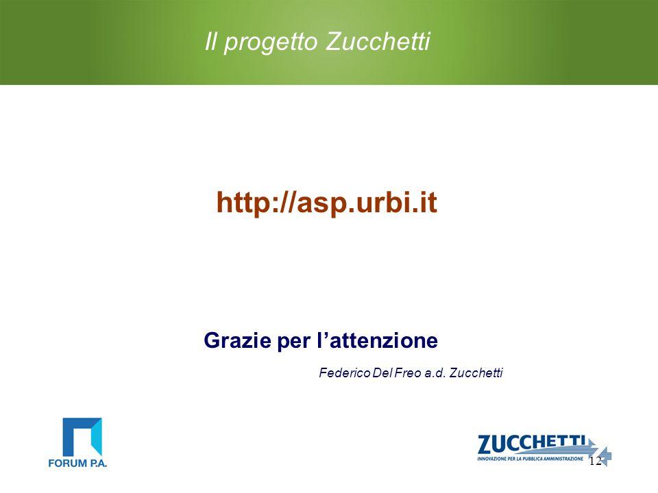 12 Il progetto Zucchetti http://asp.urbi.it Grazie per l'attenzione Federico Del Freo a.d.