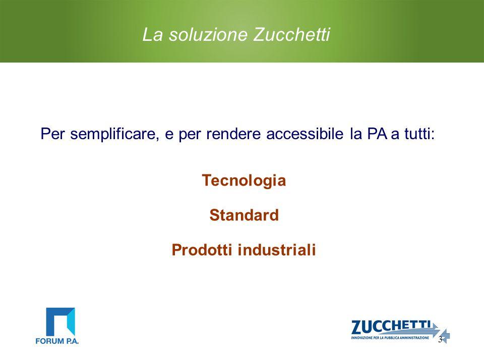 3 La soluzione Zucchetti Tecnologia Standard Prodotti industriali Per semplificare, e per rendere accessibile la PA a tutti: