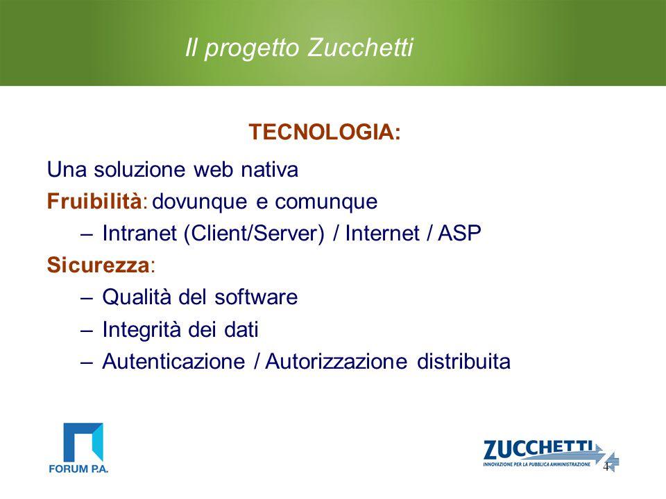 4 Il progetto Zucchetti TECNOLOGIA: Una soluzione web nativa Fruibilità: dovunque e comunque –Intranet (Client/Server) / Internet / ASP Sicurezza: –Qualità del software –Integrità dei dati –Autenticazione / Autorizzazione distribuita