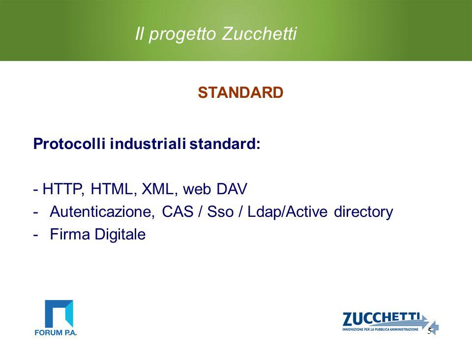 5 Il progetto Zucchetti STANDARD Protocolli industriali standard: - HTTP, HTML, XML, web DAV -Autenticazione, CAS / Sso / Ldap/Active directory -Firma Digitale