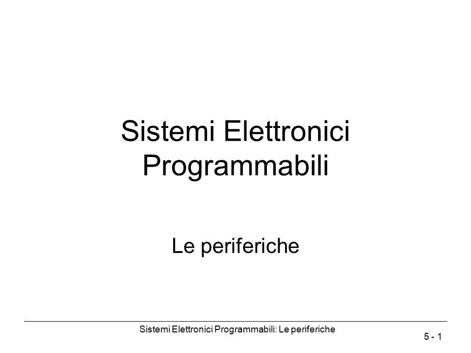 Sistemi Elettronici Programmabili: Le periferiche 5 - 2 Periferiche Il processore scambia informazioni con le periferiche attraverso dei registri.