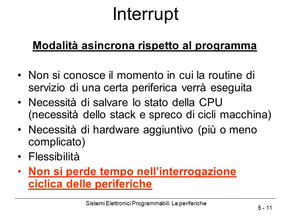 Sistemi Elettronici Programmabili: Le periferiche 5 - 11 Interrupt Modalità asincrona rispetto al programma Non si conosce il momento in cui la routin