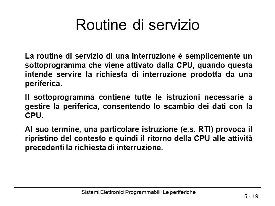 Sistemi Elettronici Programmabili: Le periferiche 5 - 19 Routine di servizio La routine di servizio di una interruzione è semplicemente un sottoprogra