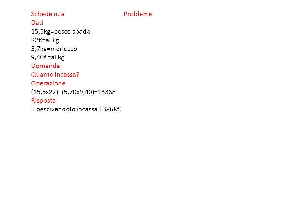 Scheda n.b Problema Dati 4560€=costo trattore 12=rate 345,50€=costo rata cad.