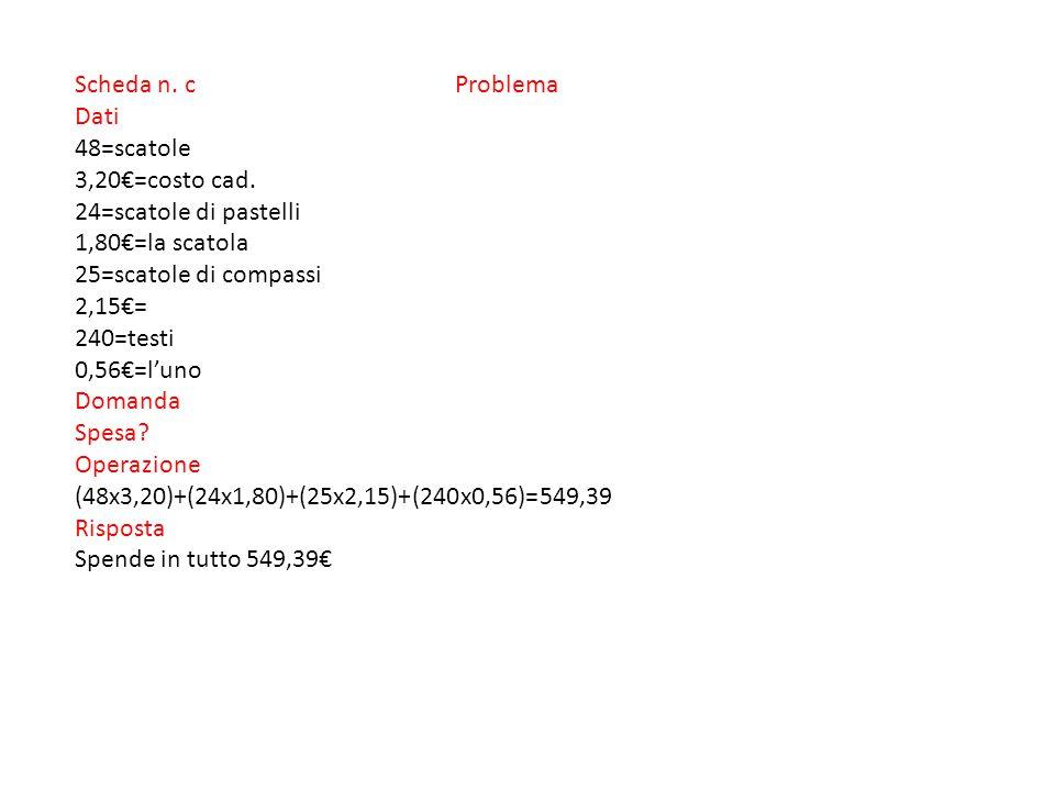 Scheda n. c Problema Dati 48=scatole 3,20€=costo cad.