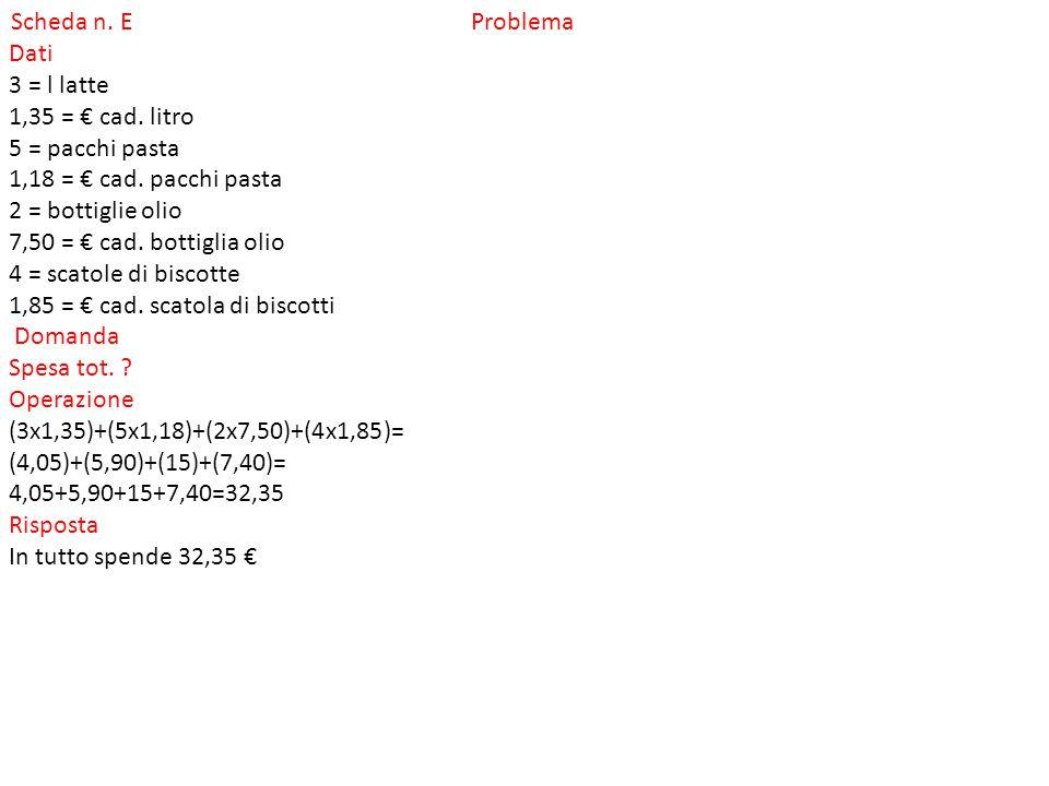 Scheda n.f Problema Dati 12=bottiglie 0,75= litri di capacità cad.