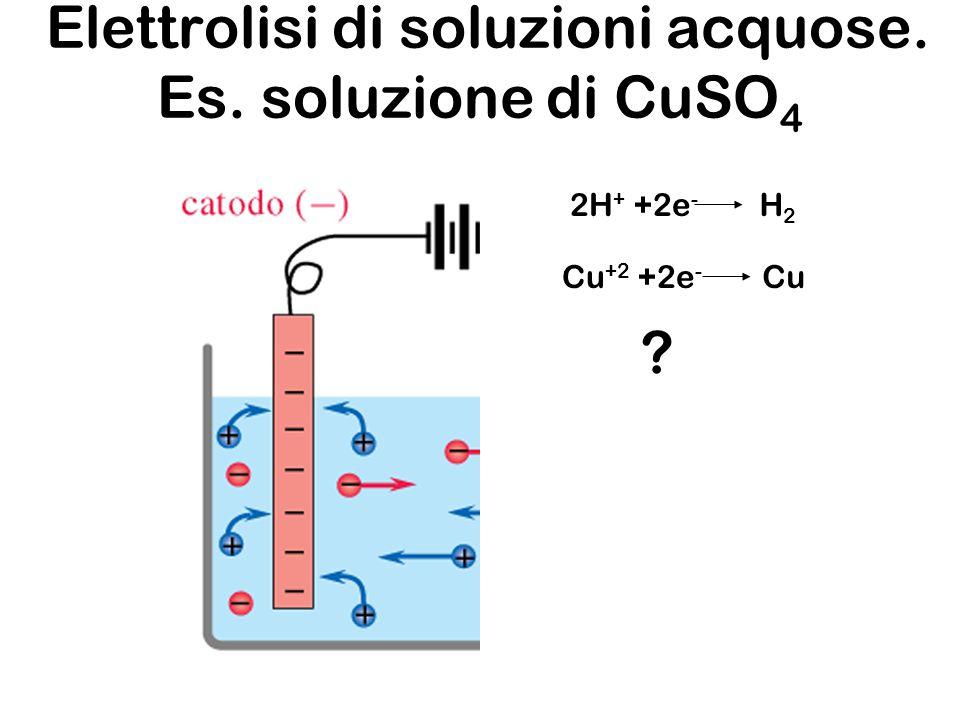 Elettrolisi di soluzioni acquose. Es. soluzione di CuSO 4 2H + +2e - H2H2 Cu +2 +2e - Cu ?