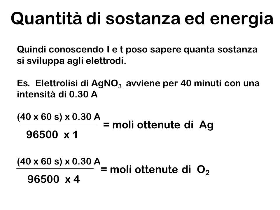 Quantità di sostanza ed energia Quindi conoscendo I e t poso sapere quanta sostanza si sviluppa agli elettrodi. Es. Elettrolisi di AgNO 3 avviene per