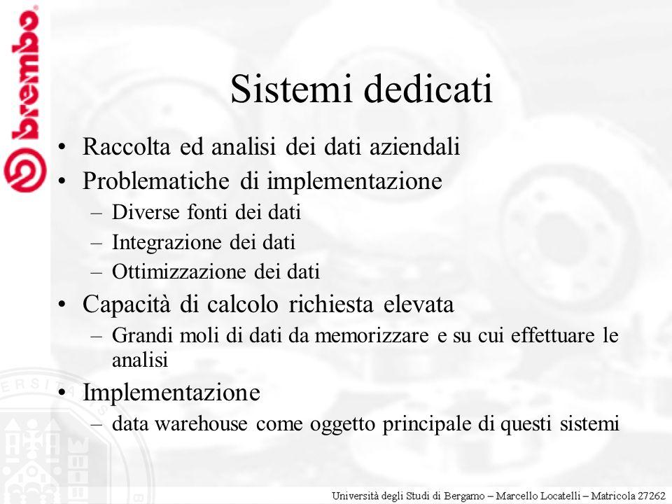 Sistemi dedicati Raccolta ed analisi dei dati aziendali Problematiche di implementazione –Diverse fonti dei dati –Integrazione dei dati –Ottimizzazion