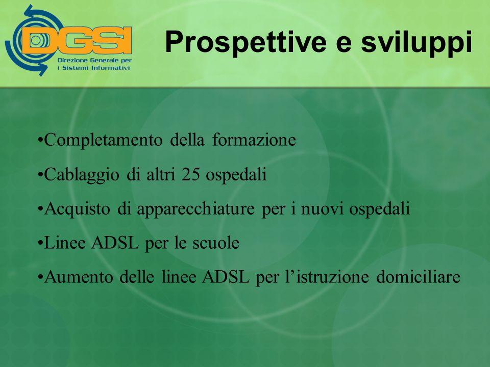Prospettive e sviluppi Completamento della formazione Cablaggio di altri 25 ospedali Acquisto di apparecchiature per i nuovi ospedali Linee ADSL per l