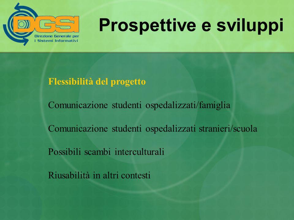 Prospettive e sviluppi Flessibilità del progetto Comunicazione studenti ospedalizzati/famiglia Comunicazione studenti ospedalizzati stranieri/scuola P