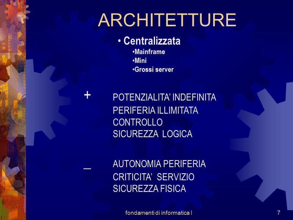 fondamenti di informatica I7 ARCHITETTURE Centralizzata Mainframe Mini Grossi server + POTENZIALITA' INDEFINITA PERIFERIA ILLIMITATA CONTROLLO SICUREZZA LOGICA _ AUTONOMIA PERIFERIA CRITICITA' SERVIZIO SICUREZZA FISICA