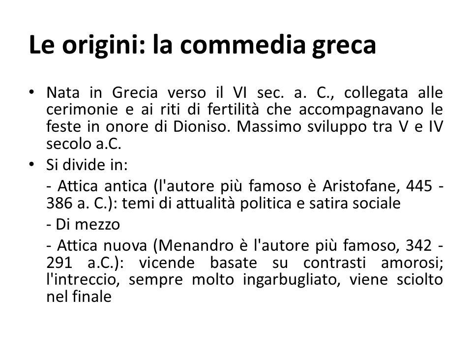 Le origini: la commedia greca Nata in Grecia verso il VI sec. a. C., collegata alle cerimonie e ai riti di fertilità che accompagnavano le feste in on
