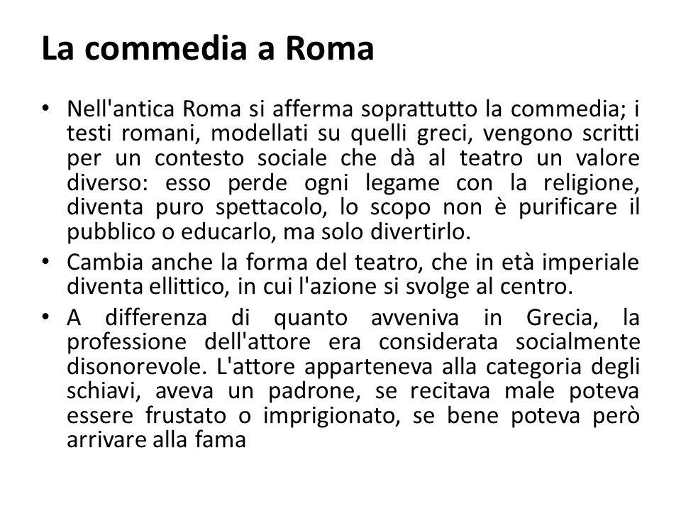 La commedia a Roma Nell'antica Roma si afferma soprattutto la commedia; i testi romani, modellati su quelli greci, vengono scritti per un contesto soc