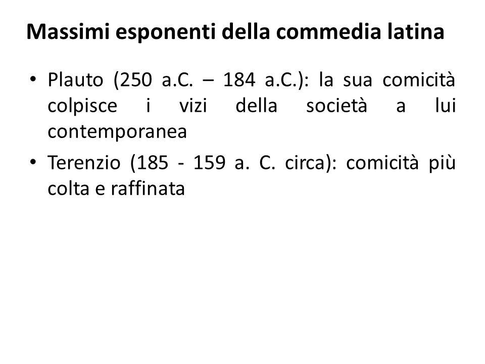 Massimi esponenti della commedia latina Plauto (250 a.C. – 184 a.C.): la sua comicità colpisce i vizi della società a lui contemporanea Terenzio (185