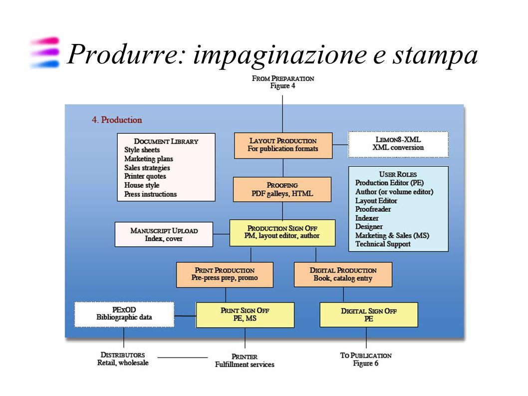 L impaginazione Preparazione flusso XML Applicazione schema (DocBook, TEI, ecc.) Altrimenti impaginazione tradizionale con QuarkXpress, InDesign senza utilizzare supporto XML