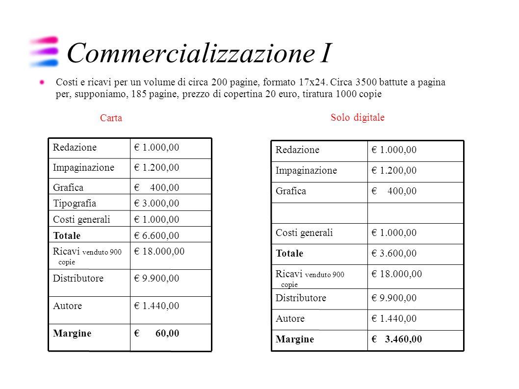 Commercializzazione II Folder (copertinario) Promozione Distribuzione Librai Grande distribuzione Edicola Distribuzione delle vendite e teoria della Long Tail