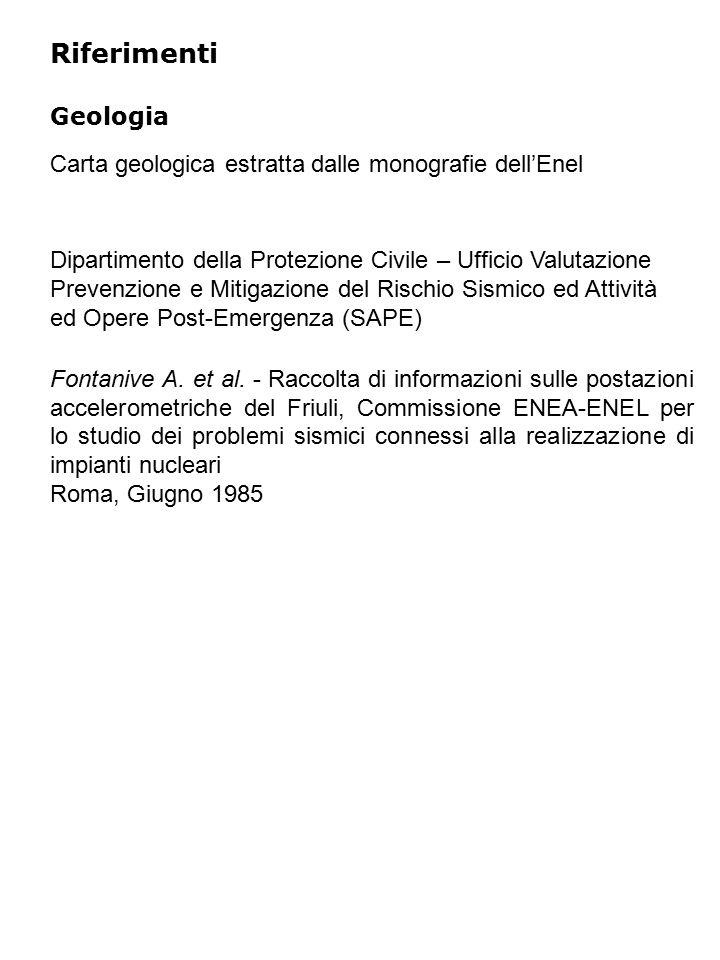 Riferimenti Geologia Fontanive A. et al.