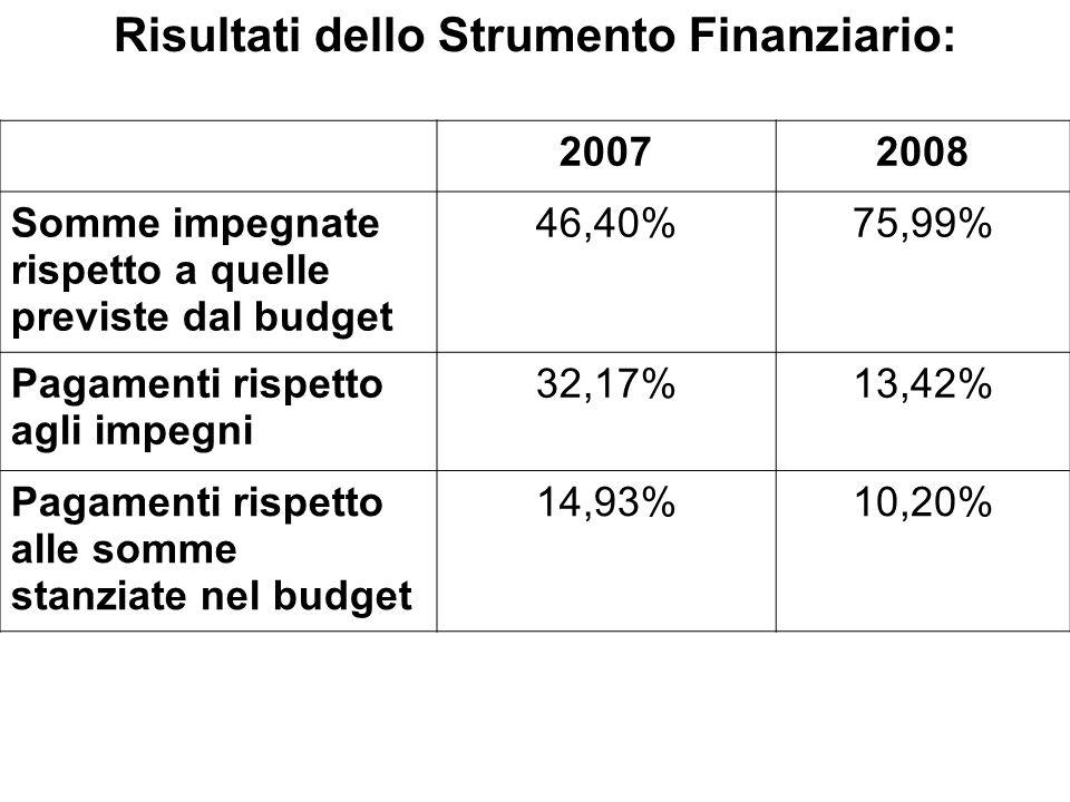 Risultati dello Strumento Finanziario: 20072008 Somme impegnate rispetto a quelle previste dal budget 46,40%75,99% Pagamenti rispetto agli impegni 32,17%13,42% Pagamenti rispetto alle somme stanziate nel budget 14,93%10,20%