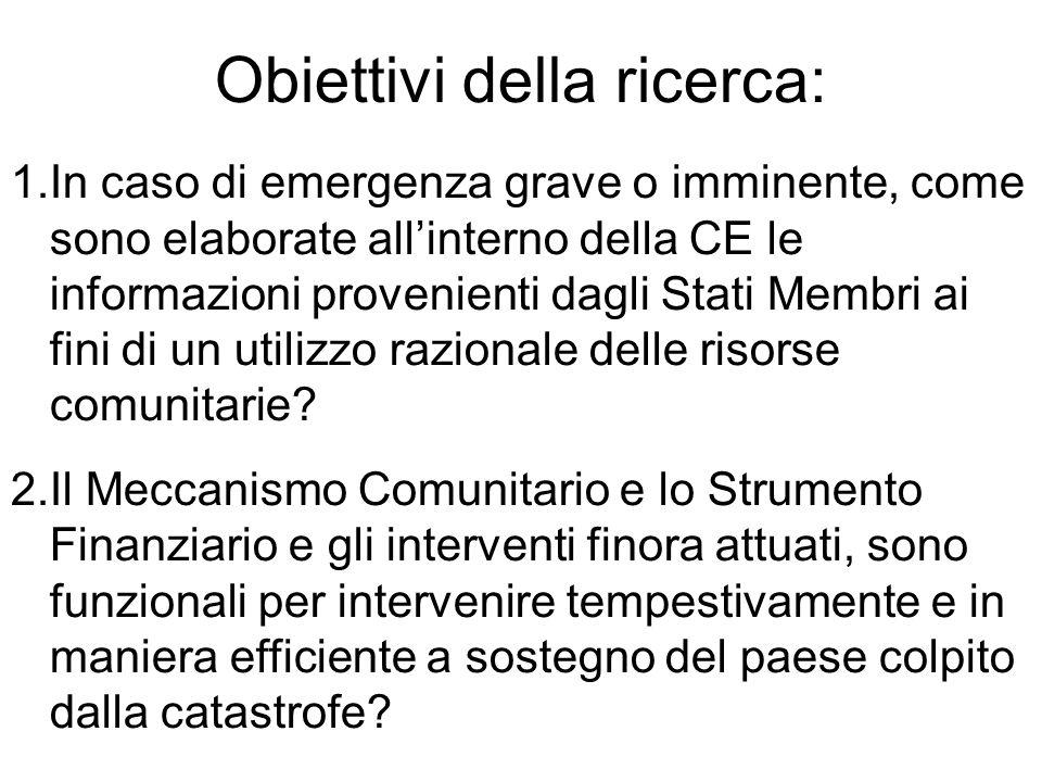1.In caso di emergenza grave o imminente, come sono elaborate all'interno della CE le informazioni provenienti dagli Stati Membri ai fini di un utilizzo razionale delle risorse comunitarie.