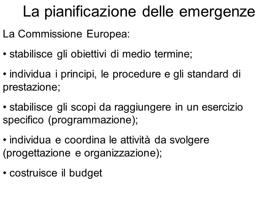 La pianificazione delle emergenze La Commissione Europea: stabilisce gli obiettivi di medio termine; individua i principi, le procedure e gli standard di prestazione; stabilisce gli scopi da raggiungere in un esercizio specifico (programmazione); individua e coordina le attività da svolgere (progettazione e organizzazione); costruisce il budget