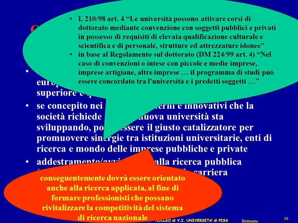 NUCLEO di V.I. UNIVERSITA' di PISA 10 Dottorato 10 Obiettivi del Dottorato … dopo la riforma rappresentare, in una prospettiva di integrazione europea
