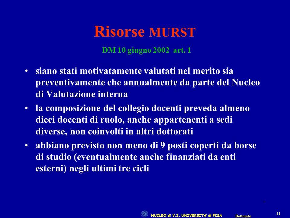 NUCLEO di V.I. UNIVERSITA' di PISA 11 Dottorato 11 Risorse MURST DM 10 giugno 2002 art. 1 siano stati motivatamente valutati nel merito sia preventiva
