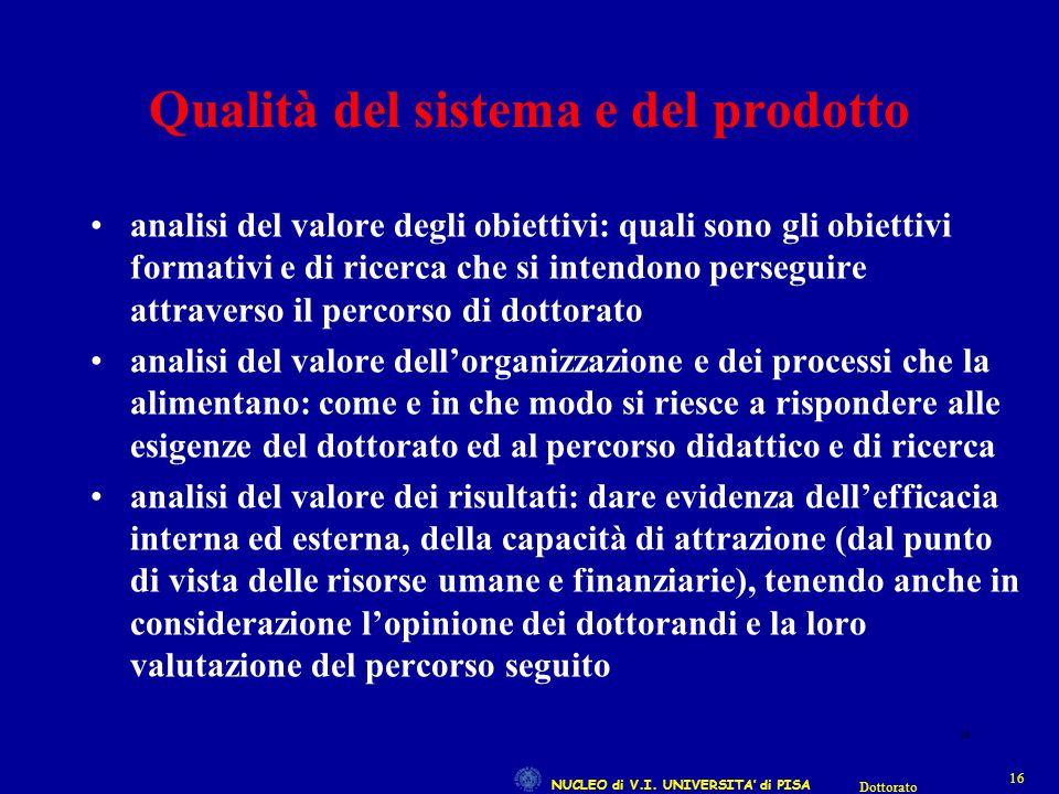 NUCLEO di V.I. UNIVERSITA' di PISA 16 Dottorato 16 Qualità del sistema e del prodotto analisi del valore degli obiettivi: quali sono gli obiettivi for
