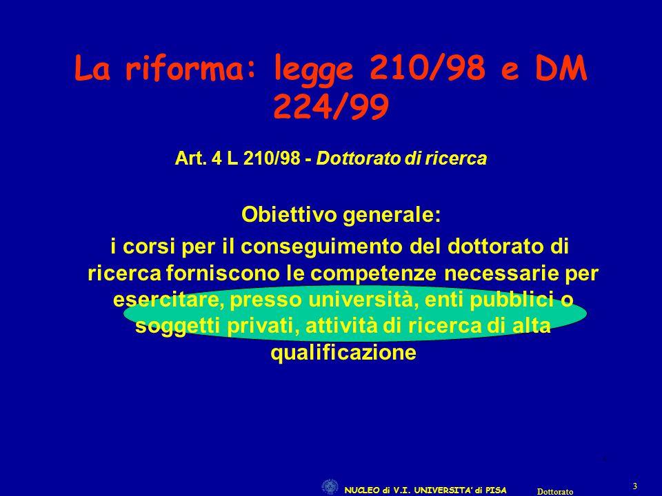 NUCLEO di V.I. UNIVERSITA' di PISA 33 Dottorato 3 La riforma: legge 210/98 e DM 224/99 Art. 4 L 210/98 - Dottorato di ricerca Obiettivo generale: i co