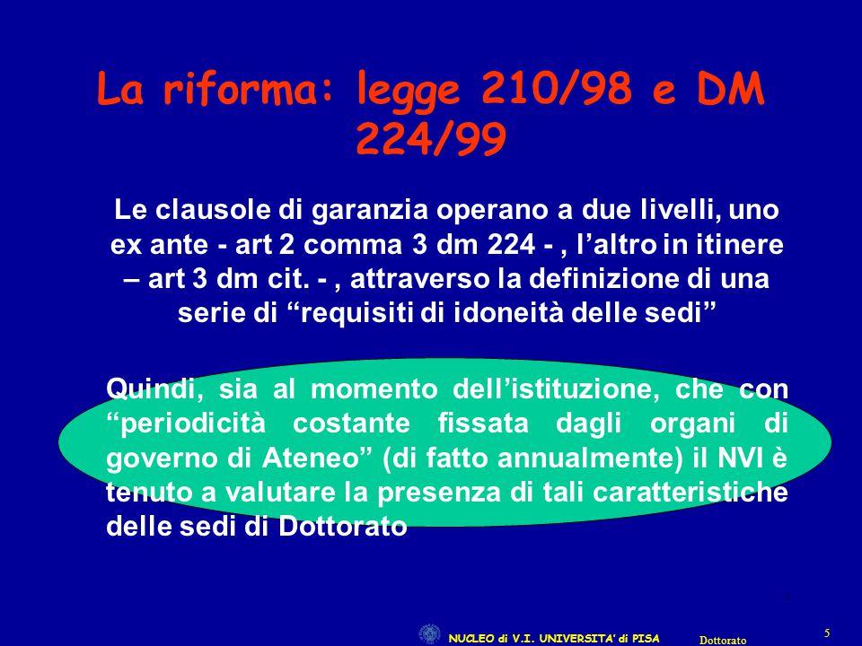 NUCLEO di V.I. UNIVERSITA' di PISA 55 Dottorato 5 La riforma: legge 210/98 e DM 224/99 Le clausole di garanzia operano a due livelli, uno ex ante - ar