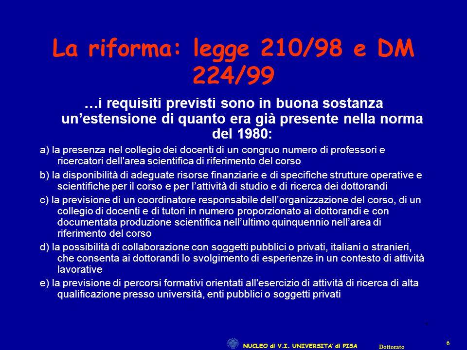 NUCLEO di V.I. UNIVERSITA' di PISA 66 Dottorato 6 La riforma: legge 210/98 e DM 224/99 …i requisiti previsti sono in buona sostanza un'estensione di q