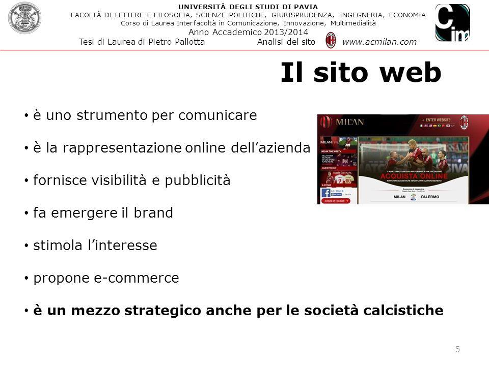 5 è uno strumento per comunicare è la rappresentazione online dell'azienda fornisce visibilità e pubblicità fa emergere il brand stimola l'interesse p