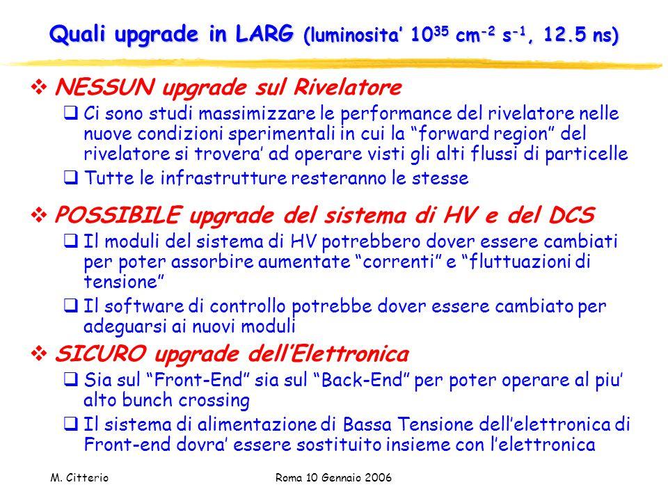 M. Citterio Roma 10 Gennaio 2006 Quali upgrade in LARG (luminosita' 10 35 cm -2 s -1, 12.5 ns)  NESSUN upgrade sul Rivelatore  Ci sono studi massimi