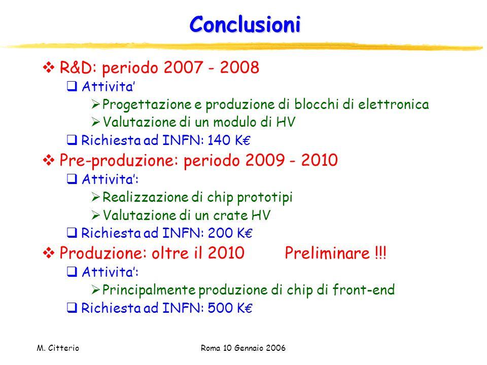 M. Citterio Roma 10 Gennaio 2006 Conclusioni  R&D: periodo 2007 - 2008  Attivita'  Progettazione e produzione di blocchi di elettronica  Valutazio