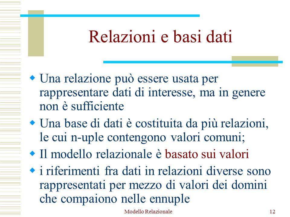 Modello Relazionale12 Relazioni e basi dati  Una relazione può essere usata per rappresentare dati di interesse, ma in genere non è sufficiente  Una base di dati è costituita da più relazioni, le cui n-uple contengono valori comuni;  Il modello relazionale è basato sui valori  i riferimenti fra dati in relazioni diverse sono rappresentati per mezzo di valori dei domini che compaiono nelle ennuple