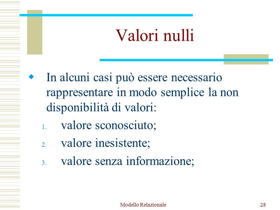 Modello Relazionale28 Valori nulli  In alcuni casi può essere necessario rappresentare in modo semplice la non disponibilità di valori: 1.