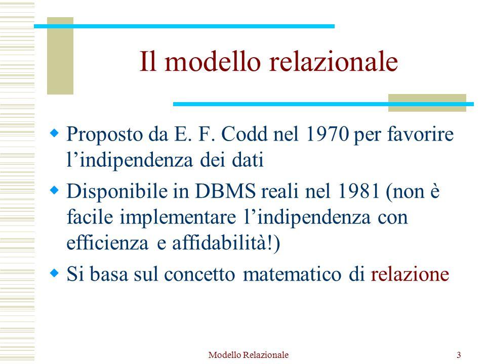 Modello Relazionale64 Operazioni del modello relazionale  Operazioni di recupero  Operazioni di aggiornamento Inserimento Cancellazione Modifica Ogni operazione di aggiornamento può violare dei vincoli specificati sullo schema
